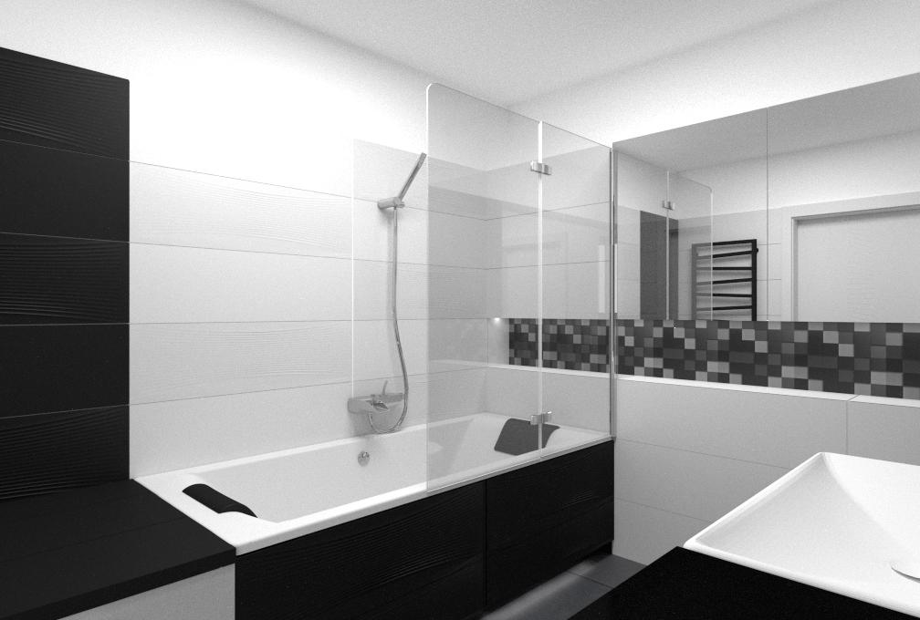 Projekt Czarno Białej łazienki Ml Projekt Studio